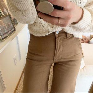 Everlane wide leg crop pant in ochre size 0